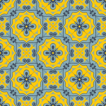 Gorgeous seamless patchwork pattern from  blue and yellow Moroccan tiles, ornaments. Can be used for wallpaper, pattern fills, web page background,surface textures.