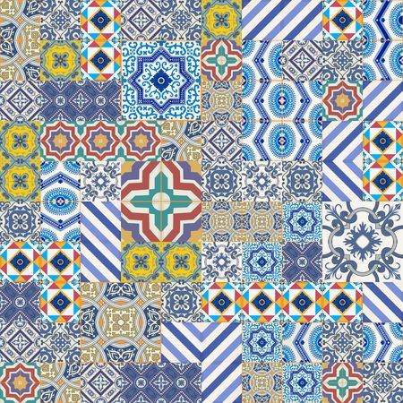 Mega Gorgeous seamless patchwork pattern from colorful Moroccan, Portuguese  tiles, Azulejo, ornaments.. Can be used for wallpaper, pattern fills, web page background,surface textures. Stok Fotoğraf - 46036875