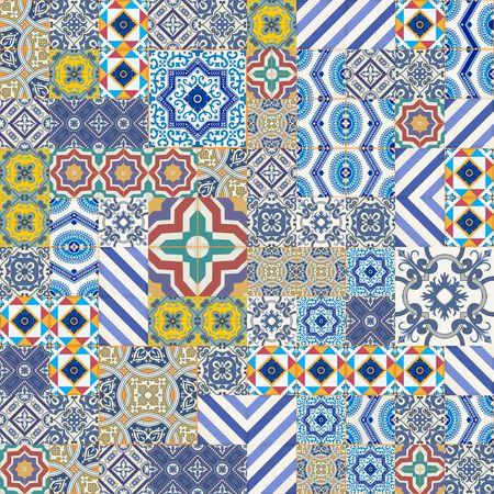 blau: Mega Herrliche nahtlose Patchwork-Muster aus bunten marokkanischen, portugiesischen Kacheln, Azulejo, Ornamente .. kann für Tapeten, Muster füllt, Web-Seite Hintergrund, Oberflächenstrukturen.