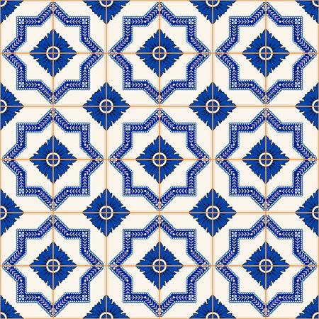 Modelo magnífico mosaico sin fisuras desde el azul oscuro y blanco marroquí, azulejos portugueses, azulejos, adornos. Puede ser utilizado para el papel pintado, patrones de relleno, de fondo página web texturas de la superficie. Foto de archivo - 46036888