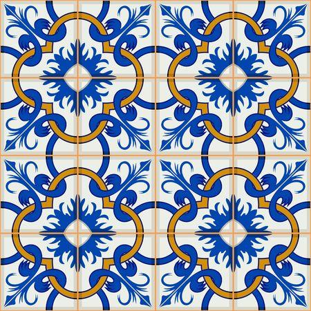 濃い青と白モロッコ、ポルトガルのタイル、Azulejo、飾りから豪華なシームレスなパッチワークのパターン。Web ページの背景テクスチャ、パターンの