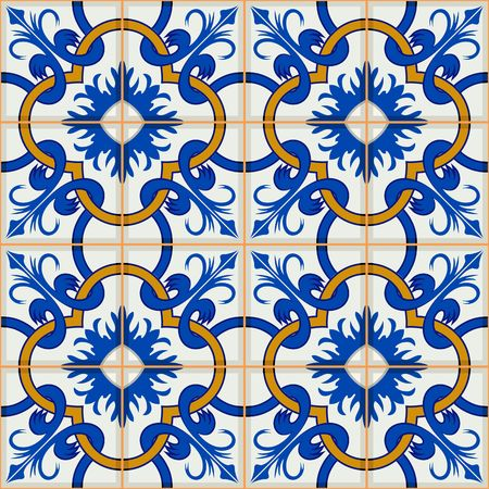 Gorgeous seamless patchwork pattern from dark blue and white Moroccan, Portuguese  tiles, Azulejo, ornaments. Can be used for wallpaper, pattern fills, web page background,surface textures.