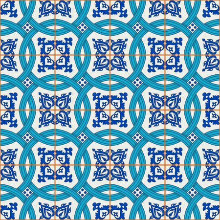 indigo: Gorgeous seamless patchwork pattern from dark blue and white Moroccan, Portuguese  tiles, Azulejo, ornaments. Can be used for wallpaper, pattern fills, web page background,surface textures.