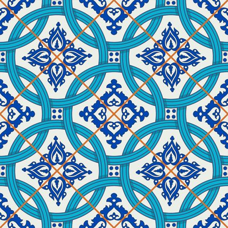 tiles: Gorgeous seamless patchwork pattern from dark blue and white Moroccan, Portuguese  tiles, Azulejo, ornaments. Can be used for wallpaper, pattern fills, web page background,surface textures.