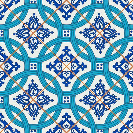 Herrliche nahtlose Patchworkmuster von dunkelblau und weiß marokkanischen, portugiesischen Kacheln, Azulejo, Ornamente. Kann für Tapeten, Muster füllt, Web-Seite Hintergrund, Oberflächen-Texturen verwendet werden.