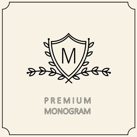 Premium Modern monogram, emblem with a laurel wreath