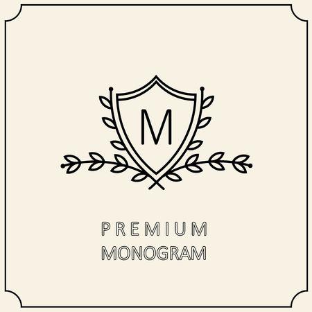floral wreath: Premium Modern monogram, emblem with a laurel wreath