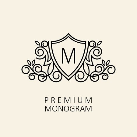 Premium Modern monogram, emblem design template with letter M. Vector illustration. 일러스트