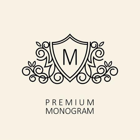Premium Modern monogram, embleem ontwerp sjabloon met letter M. Vector illustratie. Stock Illustratie