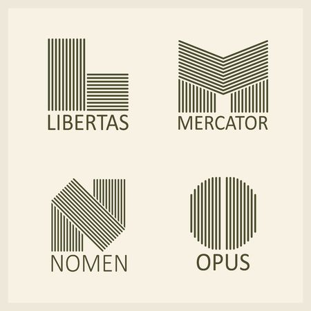 Creative Capital letters L, M, N, O. Made of parallel strips. Templates for emblems and monographs.