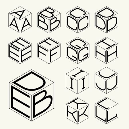 letters of the alphabet: Set 1 template of the letters inscribed in the three sides of the cube, hexagon.  To create monograms, logos and emblems