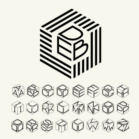 Cubo moderno monograma, hexágono de las tiras, y tres letras inscritas.