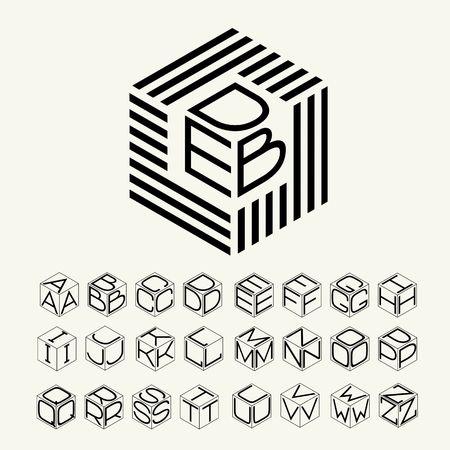 Moderne Monogramm-Würfel, Sechskant der Streifen und drei Buchstaben beschriftet. Illustration