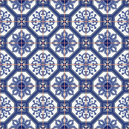 Gorgeous seamless  pattern from dark blue and white Moroccan, Portuguese  tiles, Azulejo, ornaments. Can be used for wallpaper, pattern fills, web page background,surface textures.  イラスト・ベクター素材