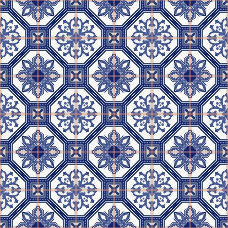 Modelo inconsútil magnífico desde el azul oscuro y blanco marroquí, azulejos portugueses, azulejos, adornos. Puede ser utilizado para el papel pintado, patrones de relleno, de fondo página web texturas de la superficie. Foto de archivo - 47685671
