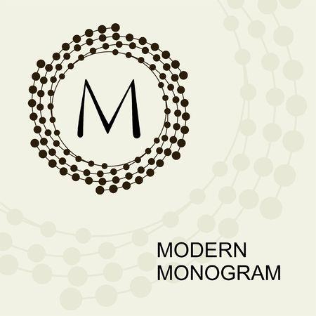 Premium Modern monogram, emblem,   with a Conceptual wreath spiral