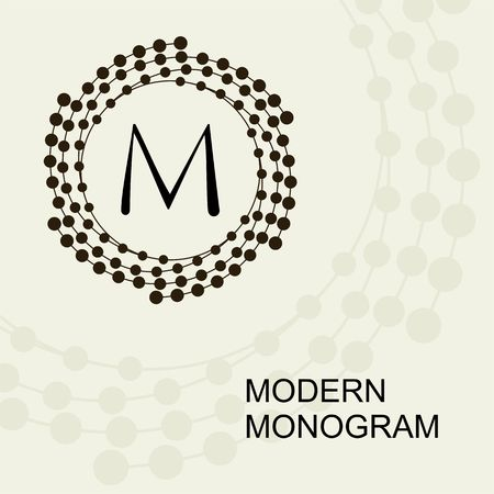 Premium Modern monogram, embleem, met een conceptuele krans spiraal