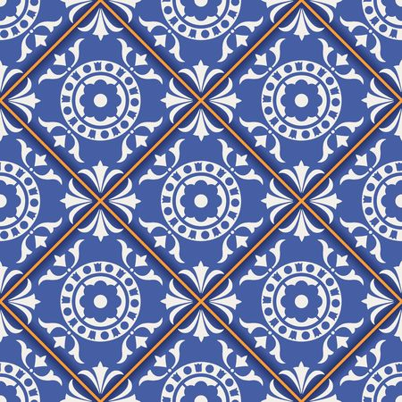 azulejo: Gorgeous seamless  pattern from dark blue and white Moroccan, Portuguese  tiles, Azulejo, ornaments. Can be used for wallpaper, pattern fills, web page background,surface textures. Illustration