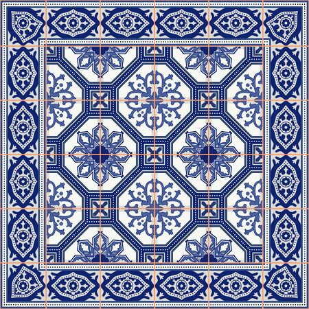 portuguese: Gorgeous seamless  pattern from tiles and border. Moroccan, Portuguese, Azulejo ornaments. Can be used for wallpaper, pattern fills, web page background,surface textures.