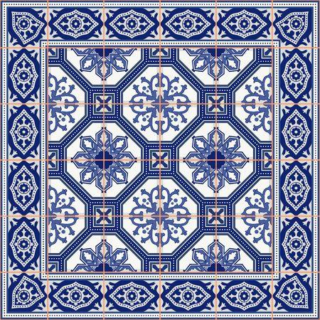 Splendido modello senza soluzione di continuità da piastrelle e bordo. Ornamenti marocchino, portoghese, azulejo. Può essere utilizzato per carta da parati, riempimenti a motivo, sfondo della pagina web, trame di superficie.