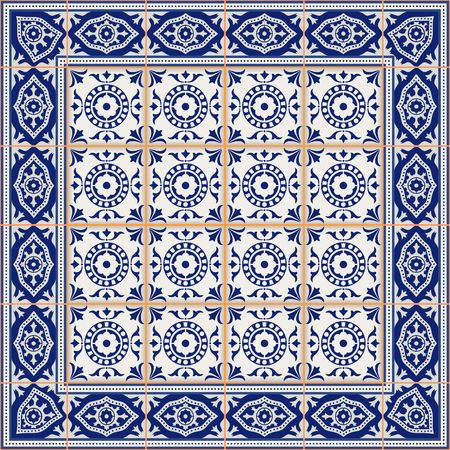 gorgeous: Gorgeous seamless  pattern from tiles and border. Moroccan, Portuguese, Azulejo ornaments. Can be used for wallpaper, pattern fills, web page background,surface textures.