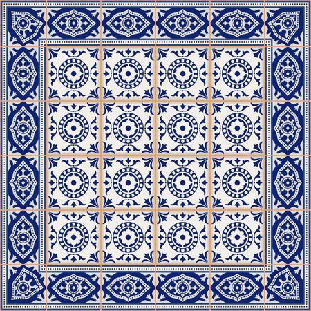 arabesco: Modelo inconsútil magnífico de azulejos y frontera. Marroquí, portugués, adornos de Azulejo. Puede ser utilizado para el papel pintado, patrones de relleno, de fondo página web texturas de la superficie.