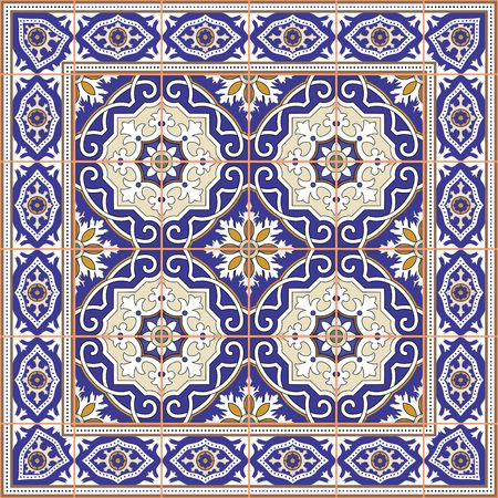 spanish tile: Gorgeous seamless  pattern from tiles and border. Moroccan, Portuguese, Azulejo ornaments. Can be used for wallpaper, pattern fills, web page background,surface textures.