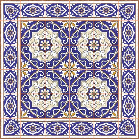 Modelo inconsútil magnífico de azulejos y frontera. Marroquí, portugués, adornos de Azulejo. Puede ser utilizado para el papel pintado, patrones de relleno, de fondo página web texturas de la superficie. Foto de archivo - 47687188