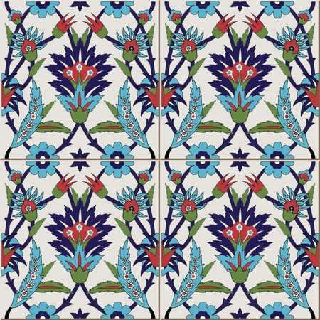 Gorgeous naadloze patroon van kleurrijke bloemen Marokkaanse, Portugese tegels, Azulejo, ornamenten. Kan gebruikt worden voor behang, patroonvullingen, webpagina achtergrond, oppervlaktestructuren.