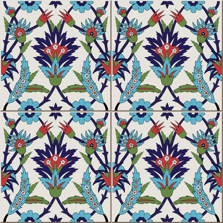 Gorgeous seamless  pattern from colorful floral Moroccan, Portuguese  tiles, Azulejo, ornaments. Can be used for wallpaper, pattern fills, web page background,surface textures.