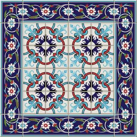 Gorgeous seamless  pattern from tiles and border. Moroccan, Portuguese,Turkish, Azulejo ornaments. Can be used for wallpaper, pattern fills, web page background,surface textures. Stock Illustratie