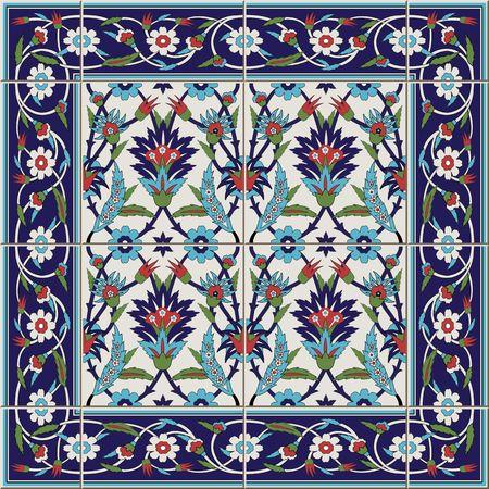 タイルとの国境から豪華なシームレス パターン。モロッコ、ポルトガル語、トルコ、Azulejo 飾り。Web ページの背景テクスチャ、パターンの塗りつぶ