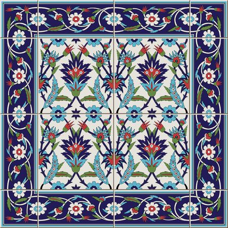 Gorgeous seamless  pattern from tiles and border. Moroccan, Portuguese,Turkish, Azulejo ornaments. Can be used for wallpaper, pattern fills, web page background,surface textures. Ilustracja