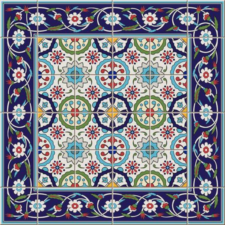 Gorgeous seamless  pattern from tiles and border. Moroccan, Portuguese,Turkish, Azulejo ornaments. Can be used for wallpaper, pattern fills, web page background,surface textures. Ilustração