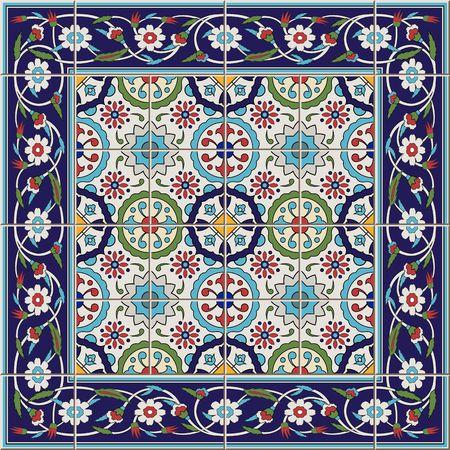 Modelo inconsútil de los azulejos precioso y la frontera. Marroquí, portugués, turco, adornos de Azulejo. Puede ser utilizado para el papel pintado, patrones de relleno, de fondo página web de texturas de superficie. Foto de archivo - 47687293
