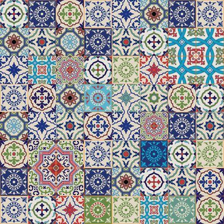 화려한 모로코에서 메가 화려한 원활한 패치 워크 패턴, 포르투갈어 타일, Azulejo은, 장신구 .. 웹 페이지 배경, 표면 질감, 패턴 칠, 벽지에 사용할 수 있 일러스트
