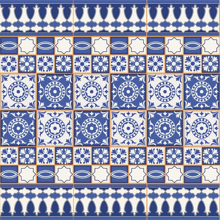 Gorgeous seamless  pattern from tiles and border. Moroccan, Portuguese, Azulejo ornaments. Can be used for wallpaper, pattern fills, web page background,surface textures.