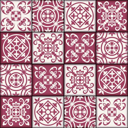 oriental ornament: Gorgeous seamless patchwork pattern from dark red and white Moroccan tiles, ornaments. Can be used for wallpaper, pattern fills, web page background,surface textures.