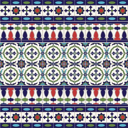 mosaic floor: Gorgeous seamless  pattern from tiles and border. Moroccan, Portuguese, Azulejo ornaments. Can be used for wallpaper, pattern fills, web page background,surface textures.