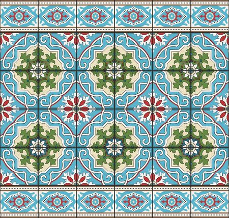 Gorgeous naadloze patroon van tegels en grens. Marokkaans, Portugees, Azulejo ornamenten. Kan gebruikt worden voor behang, patroonvullingen, webpagina achtergrond, oppervlaktestructuren.
