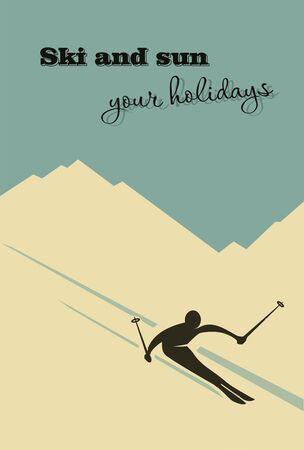alpine: Winter background. Winter background. Skier slides from the mountain.