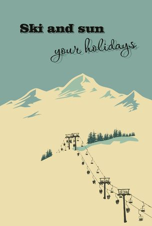 old postcards: Winter background. Mountain landscape with ski lift Illustration
