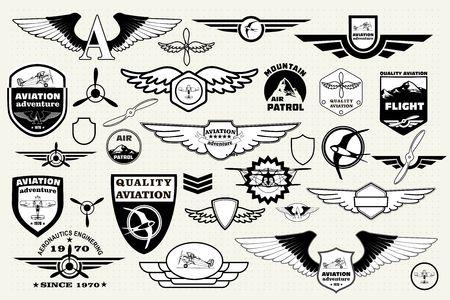 モノクロのメガ セット レトロなエンブレムのデザイン要素、バッジおよびテーマ航空アイコン パッチ