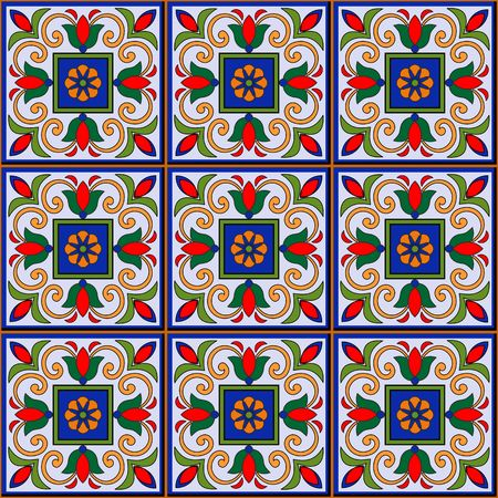 Gorgeous seamless  pattern  white Moroccan, Portuguese  tiles, Azulejo, ornaments. Can be used for wallpaper, pattern fills, web page background,surface textures. 矢量图像