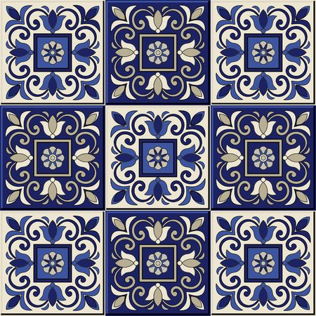portuguese: Gorgeous seamless  pattern from dark blue and white Moroccan, Portuguese  tiles, Azulejo, ornaments. Can be used for wallpaper, pattern fills, web page background,surface textures. Illustration
