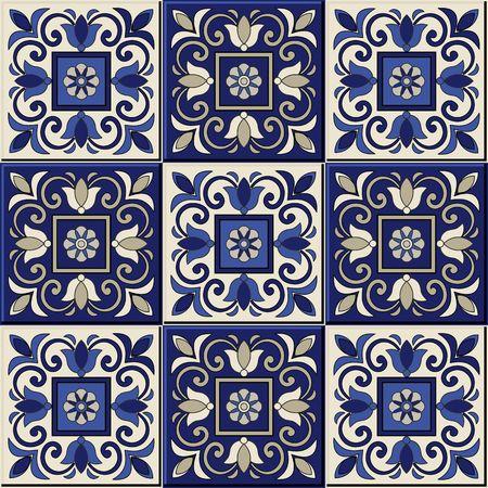 Modelo inconsútil magnífico desde el azul oscuro y blanco marroquí, azulejos portugueses, azulejos, adornos. Puede ser utilizado para el papel pintado, patrones de relleno, de fondo página web texturas de la superficie.
