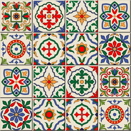 tile wall: Gorgeous seamless  pattern  white colorful Moroccan, Portuguese  tiles, Azulejo, ornaments. Can be used for wallpaper, pattern fills, web page background,surface textures.