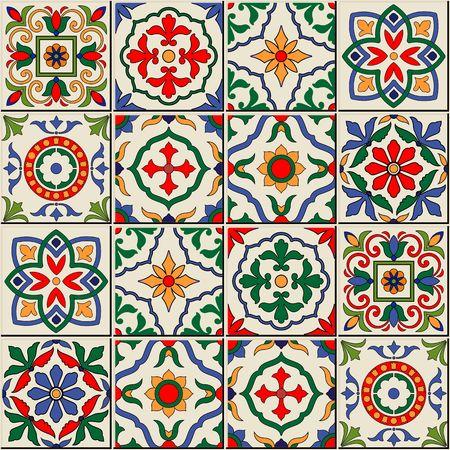 Splendida senza soluzione di continuità modello bianco colorate marocchino, tegole portoghesi, Azulejo, ornamenti. Può essere utilizzato per carta da parati, riempimenti a motivo, sfondo della pagina web, texture di superficie.