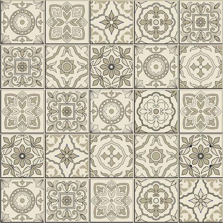 세피아 흰색 모로코, 포르투갈어 타일, 아 줄레 주, 장식품에서 화려한 원활한 패턴입니다. 벽지, 패턴 칠, 웹 페이지 배경, 표면 질감에 사용할 수 있습