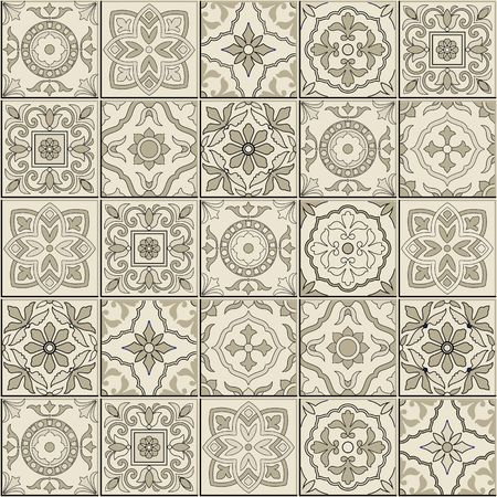 Gorgeous seamless  pattern from sepia white Moroccan, Portuguese  tiles, Azulejo, ornaments. Can be used for wallpaper, pattern fills, web page background,surface textures.